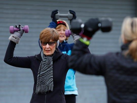 Elaine Millner, 80, Monmouth Beach, participates in