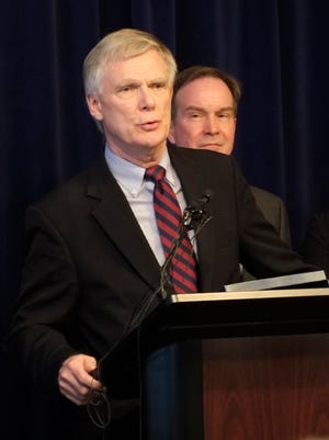 William Forsyth speaks at a news conference on Saturday, Jan. 27, 2018 in downtown Lansing after Attorney General Bill Schuette announced he'd been appointed independent special prosecutor to investigate Michigan State University's handling of sexual assault cases in the wake of the Larry Nassar trial.