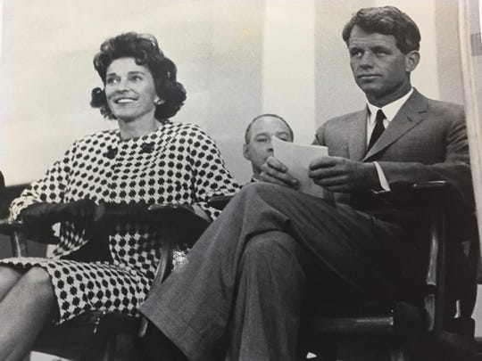 Mildred Boylan and Robert Kennedy, taken in the early 1960s, probably when he was running for Senate in 1964. Boylan said she thought this was a different time from the anecdote mentioned in the attached column.
