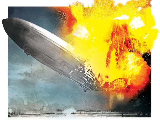The majestic airship Hindenburg glided over New York City on its way to Lakehurst and its moment in history.