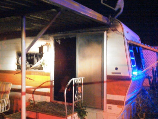 Mobile-home fire east of Mesa