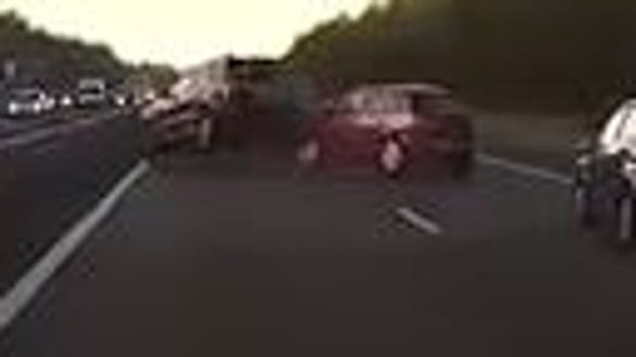 A still frame from a dashcam video on YouTube that