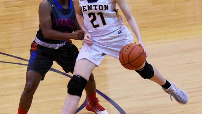 Benton's Emily Ward drives past Evangel's Meagan Laboy during a game last season. Both teams and players will compete this weekend in the Trak1 Tournament at Benton.