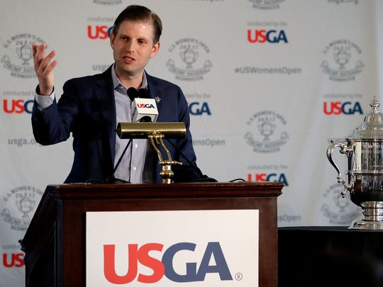 Eric Trump speaks during a news conference previewing