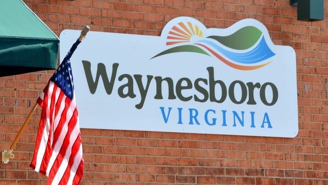 A sign on the side of the building at 301 West Main Street in downtown Waynesboro.