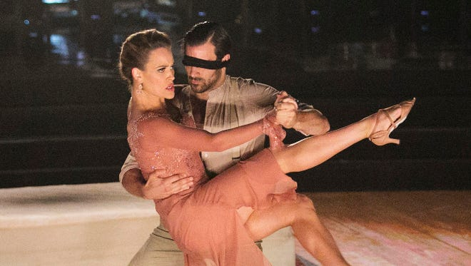 """Peta Murgatroyd (L) and Nyle DiMarco perform in the """"DWTS"""" semi-finals on Monday night."""