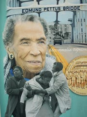 An enlarged banner showing civil rights legend Amelia