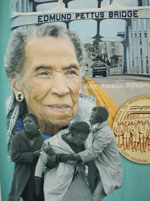 An enlarged banner showing civil rights legend Amelia Boynton Robinson has drawn much attention at Selma's expanded Interpretive Center. Alvin Benn/Special to the Advertiser