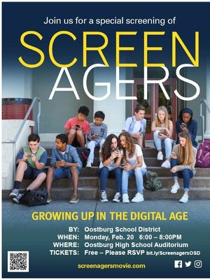 """""""Screenagers"""" will be shown by the Oostburg School District this month."""