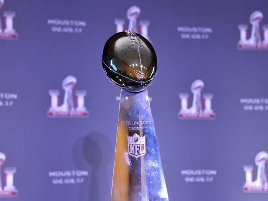 Feb 8, 2016; San Francisco, CA, USA; General view of Super Bowl LI logo and Lombardi Trophy during press conference at the Moscone Center. Mandatory Credit: Kirby Lee-USA TODAY Sports ORG XMIT: USATSI-264690 ORIG FILE ID:  20160208_jla_al2_370.jpg