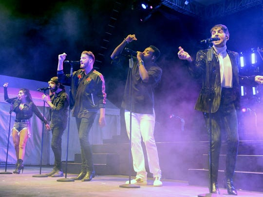 Kirstin Maldonado, Avi Kaplan, Scott Hoying, Kevin Olusola and Mitch Grassi of Pentatonix perform at the Wisconsin State Fair on Aug. 8.