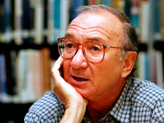 "American playwright Neil Simon is shown in 1994. Simon, a master of comedy whose laugh-filled hits such as ""The Odd Couple,"" ""Barefoot in the Park"" and his ""Brighton Beach"" trilogy dominated Broadway for decades, died on Aug. 26, 2018. He was 91."