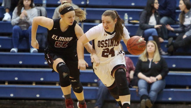 Ossining's Kelsey Quinn tries to get around Elmira's Alexus Boorse on Friday during a Class AA state quarterfinal at Pace University.