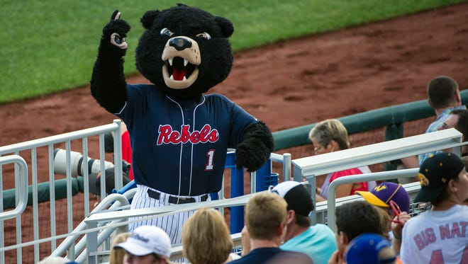 Jun 19, 2014; Omaha, NE, USA; Rebel, the Mississippi Rebels mascot, leads cheers during game ten of the 2014 College World Series against the TCU Horned Frogs at TD Ameritrade Park Omaha. Mississippi defeated TCU 6-4. Mandatory Credit: Steven Branscombe-USA TODAY Sports