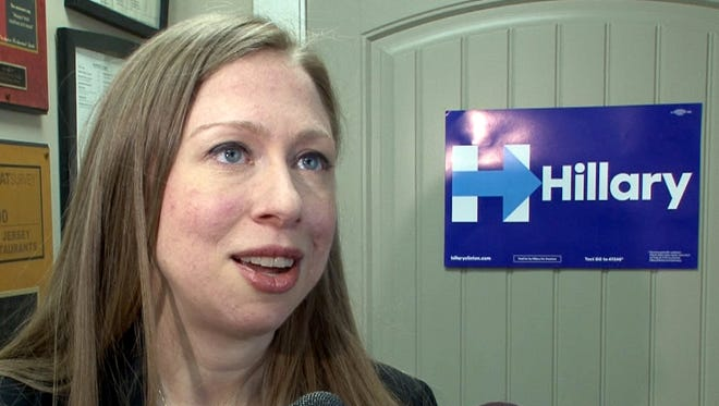 Chelsea Clinton speaks with the media after her noontime appearence at Charley's Ocean Grill in Long Branch, NJ, Tuesday, May 17, 2016.  This was the first of two stops in Monmouth County she made in support of her mother Hillary Clinton's presidential campaign.   (Photo by Thomas P. Costello / Asbury Park Press)