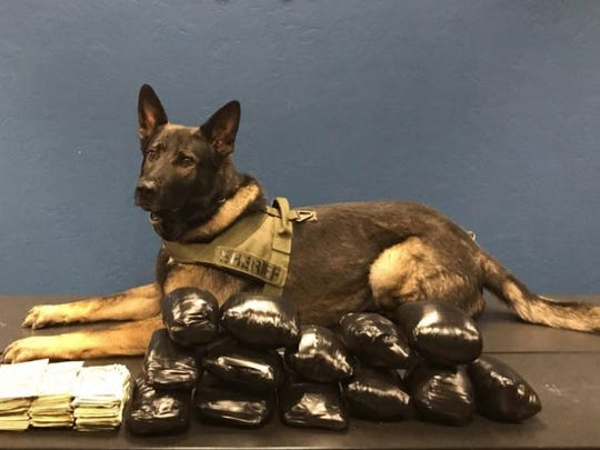 With the help of a K9, MCSO seized more than 14 pounds and $19,000 in cash during a traffic stop south of Salinas on Sunday.