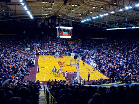 The Evansville Purple Aces compete in the first half against the North Carolina Tar Heels at a sold-out Roberts Stadium Wednesday night.  North Carolina won the game 76-49.