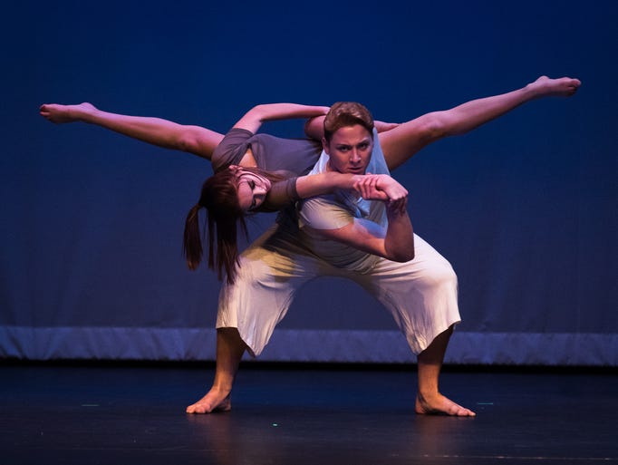 Ross Spangler and Hannah Odegard perform during the