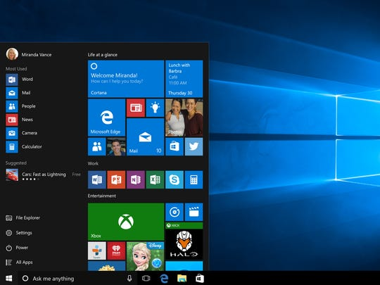This screenshot provided by Microsoft shows the Start page in Windows 10.