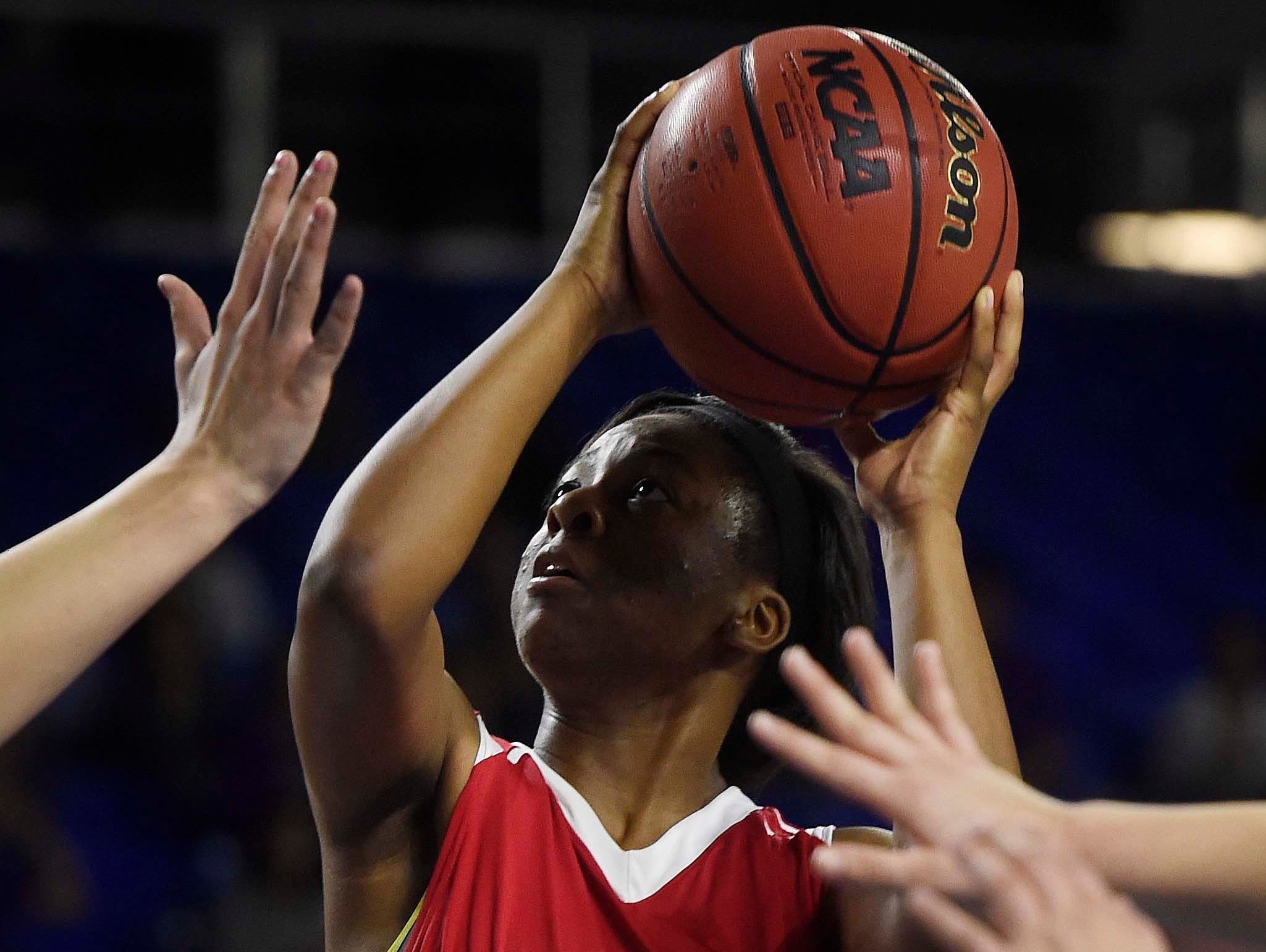 East's Kyra Trice (5) drives the lane as East Nashville wins 47-35 in the Division I Class AA Girl's basketball tournament at the Murphy Center on MTSU's campus March 10, 2016 in Murfreesboro, Tenn.