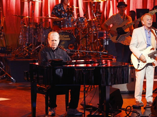 Brian Wilson and fellow Beach Boy  Al Jardine perform on his Pet Sounds 50th Anniversary World Tour at Celebrity Theatre Saturday, July 9, 2016 in Phoenix, Ariz..