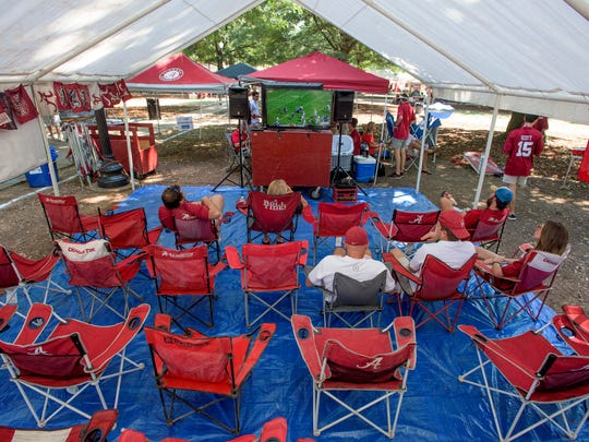 The television room at Mike Book's tailgating area before the Alabama vs. Western Kentucky game in Tuscaloosa, Ala., on Saturday September 10, 2016.