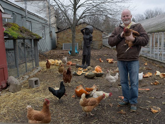 """I've always loved chickens,"" said Tim Travis, owner of Goldner Walsh Garden & Home. He also houses goats on his property."