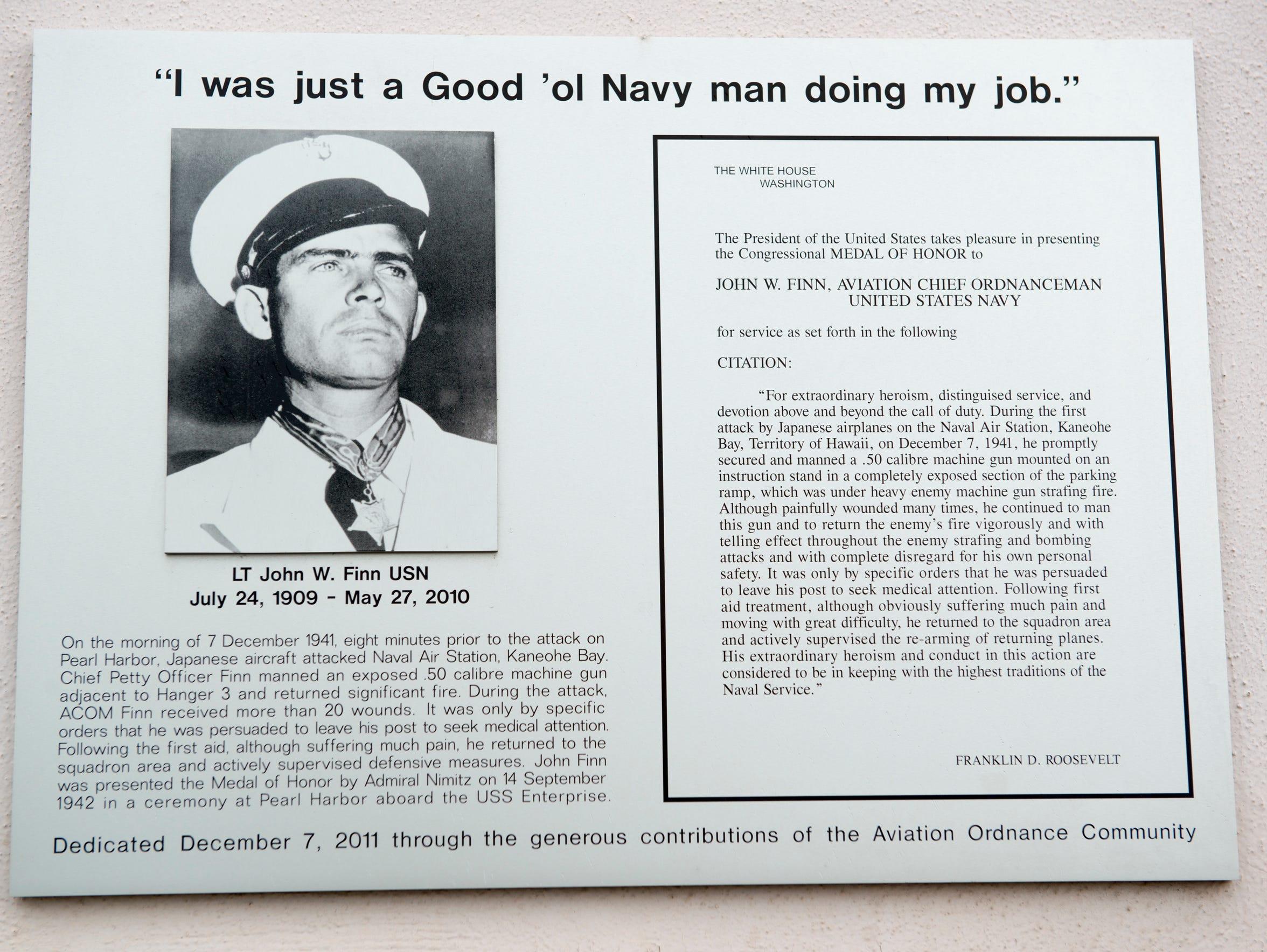 A monument to U.S. Navy Lieutenant John W. Finn, whose