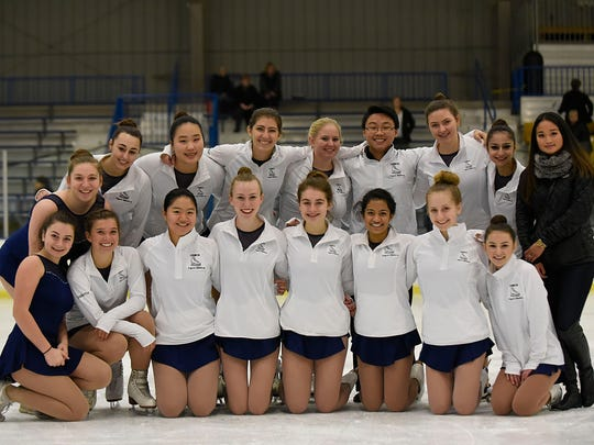 Laura Lepzinski (far right, back row) is head coach for the CDMCK Unified figure skating team which includes skaters representing Country Day, Marian and Cranbrook Kignswood.