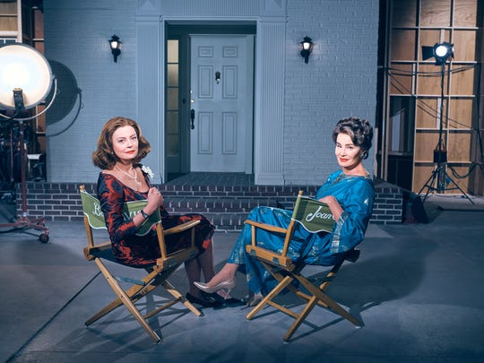 Susan Sarandon, left, plays Bette Davis and Jessica