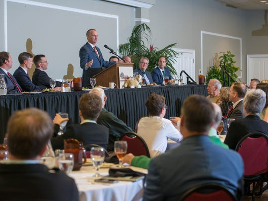 Florida house speaker Richard Corcoran speaks during the Panhandle Tiger Bay Club  at New World Landing in Pensacola on Friday, March 17, 2107.