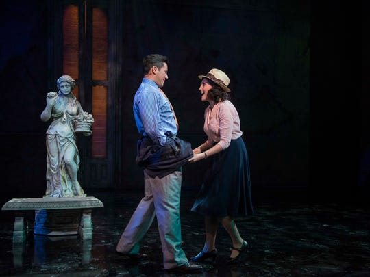 "Nicholas Rodriguez and Emma Rose Brooks share a scene in Milwaukee Repertory Theater's production of ""Guys and Dolls."""