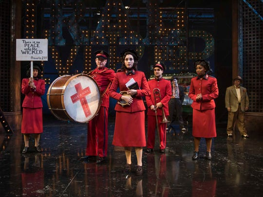 "Emma Rose Brooks (center) leads the way in Milwaukee Repertory Theater's production of ""Guys and Dolls."""