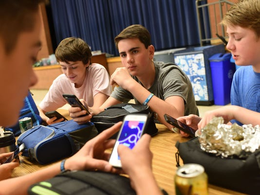 Students can use cellphones at a Bethesda middle school during lunch, but only on Fridays.