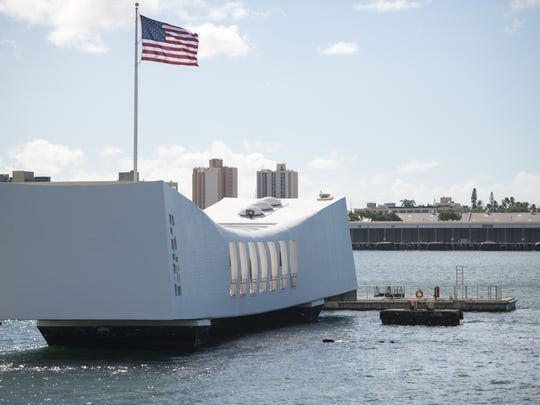The USS Arizona Memorial sits over the submerged wreckage of the ship, just offshore of Ford Island, Honolulu, Hawaii. Dec. 7, 2017 marks the 76th anniversary of the Japanese attack on Pearl Harbor, Hawaii, that brought the U.S. into WWII.