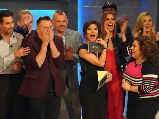"Ross Mathews, with his hands to his face,  is named America's Favorite Houseguest on the finale of the first-ever ""Celebrity Big Brother' in the U.S., on Sunday, Feb. 25."