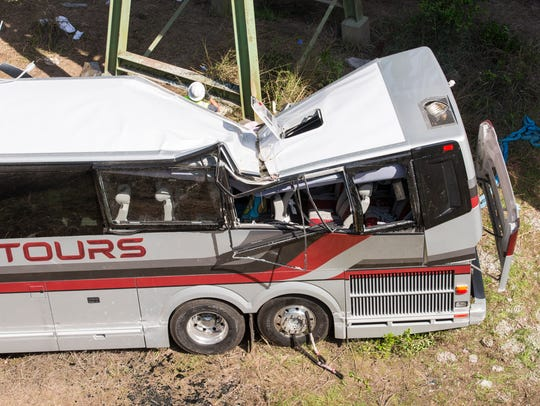 A west bound charter bus crashed into a ravine on I-10