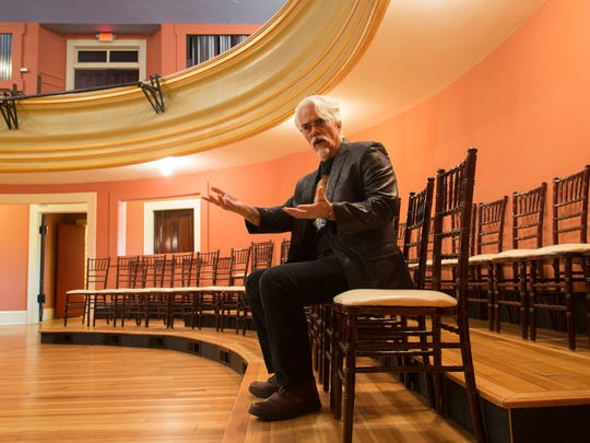 "Inside the theater at the Masonic Temple in Asheville, Gavin Dillard talks about the poetry that led to the opera ""When Adonis Calls."""
