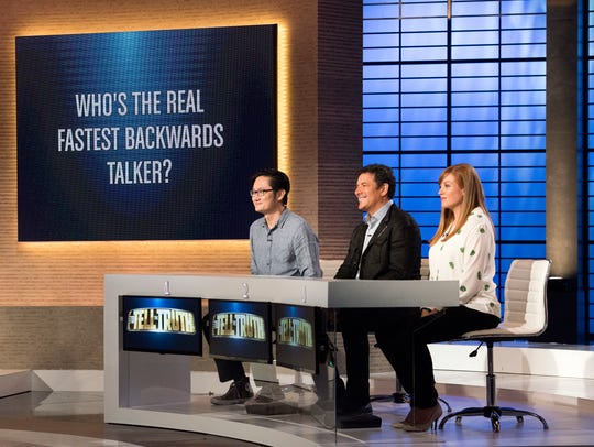 A celebrity panel guesses who is actually the fastest backwards talker on ABC's 'To Tell the Truth.'
