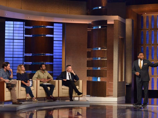 "(L to R) Celebrity panel Oliver Hudson, Candace Cameron Bure, Kal Penn and Ross Mathews with host Anthony Anderson on ""To Tell the Truth,"" airing Sunday, July 15 on ABC."