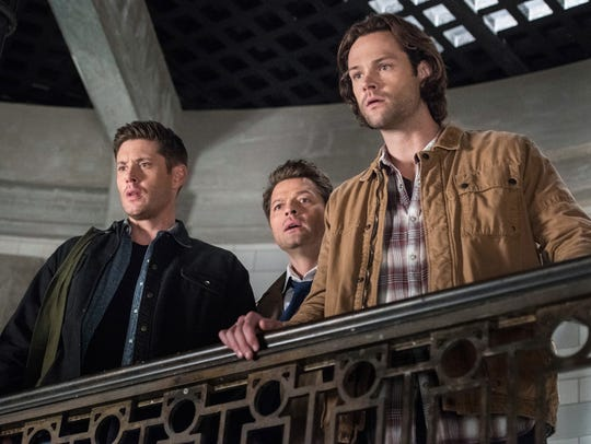Jensen Ackles (far left), Misha Collins and Jared Padalecki