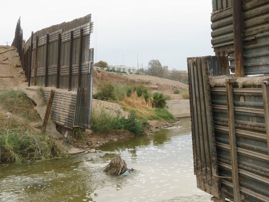 The New River flows across the border into California.