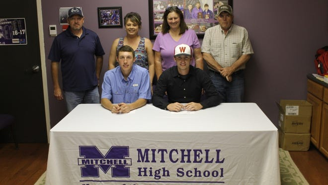 Mitchell baseball players Luke Tipton, left, and Justin Greene have signed with colleges.