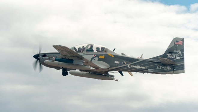 An A-29 Super Tucano experimental aircraft crashed during a training flight at White Sands Missile Range Friday that's similar to the aircraft pictured above.