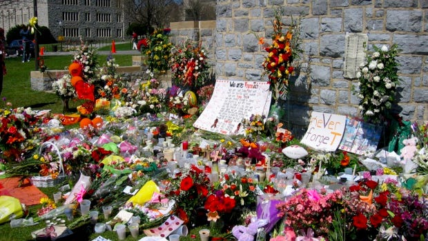 Memorial wall at Virginia Tech honors victims of the April 16, 2007 shooting there.