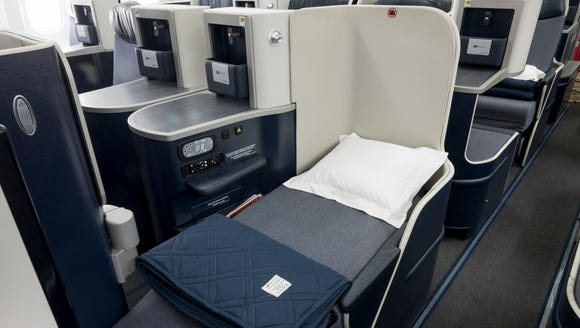 TAP's new business-class seats, which debuted June