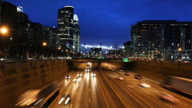 Early Tuesday morning traffic through downtown Cincinnati.
