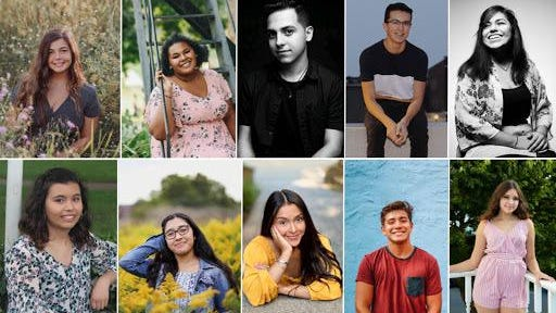 The 2020 Holland/Zeeland Promise Scholars. Top row, from left: Alivia Ybarra, Allisa Murphy, Angel Verdusco, Bruno Rios Ruiz, and Esli Mendoza. Bottom row, from left: Esly Hurtado, Gilma Jimenez, Myriam Martinez, Nelson Figueroa, Xitlali Loyola.