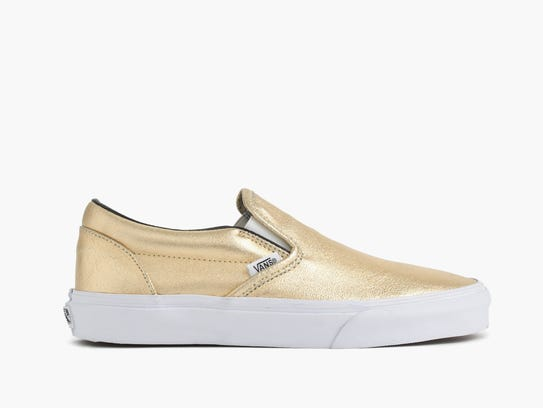 """The brand's iconic """"Old Skool'' skater shoe with the signature strike has been sported by fashionistas such as Hailey Baldwin and Olivia Wilde. It has been particularly popular in black, apparently giving even casual outfits a pop of chic."""