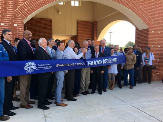 Students and officials from South Louisiana Community College, St. Martinville and the surrounding area cut a ribbon on SLCC's new Evangeline campus Wednesday.